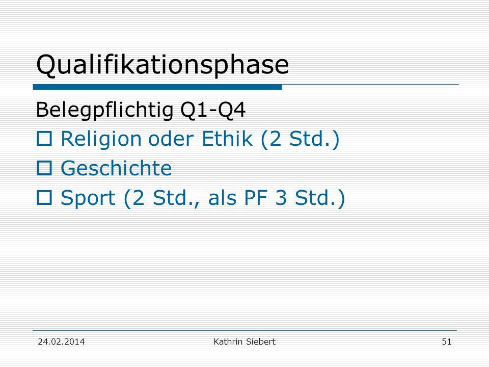 Kathrin Siebert Qualifikationsphase Belegpflichtig Q1-Q4 Religion oder Ethik (2 Std.) Geschichte Sport (2 Std., als PF 3 Std.) 24.02.201451