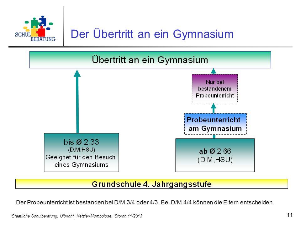 Staatliche Schulberatung, Ulbricht, Ketzler-Momboisse, Storch 11/2013 11 Der Probeunterricht ist bestanden bei D/M 3/4 oder 4/3. Bei D/M 4/4 können di