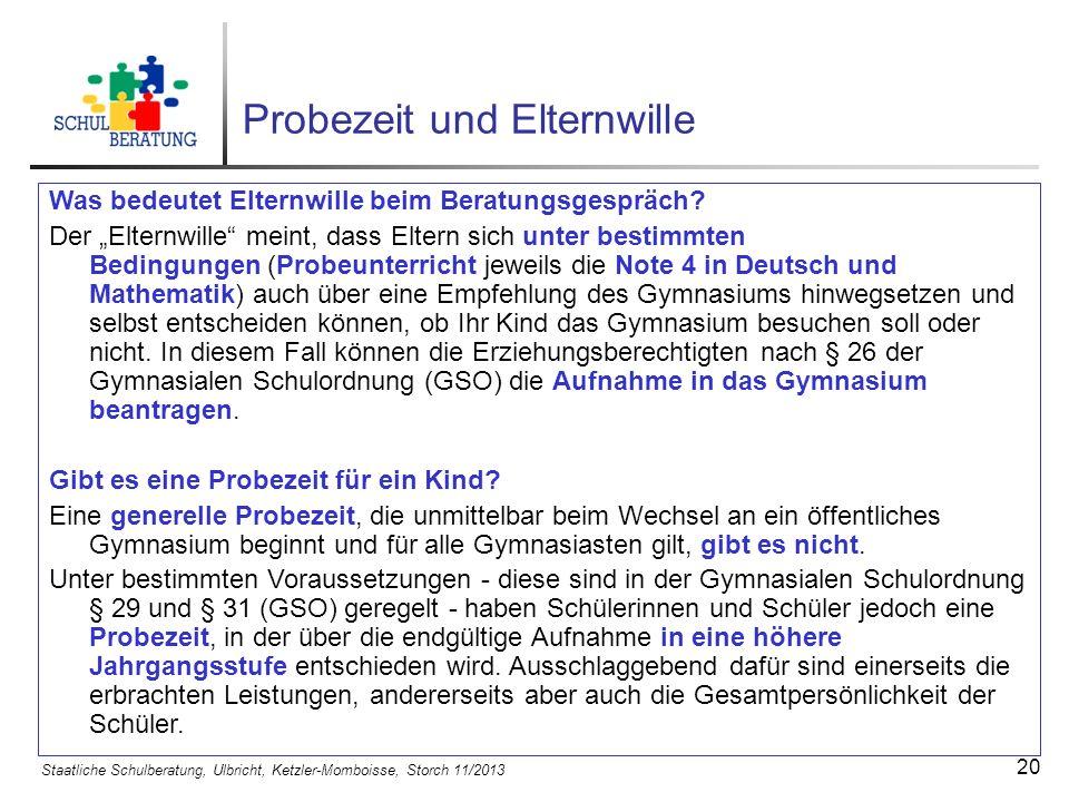 Staatliche Schulberatung, Ulbricht, Ketzler-Momboisse, Storch 11/2013 21 Wie sieht der Probeunterricht aus.