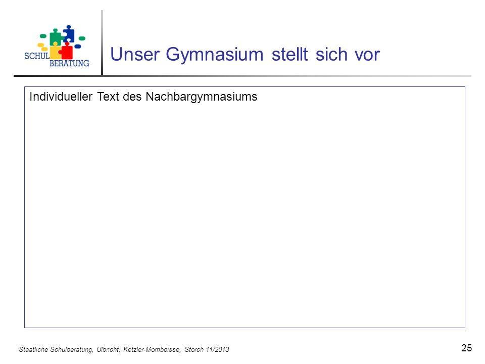 Staatliche Schulberatung, Ulbricht, Ketzler-Momboisse, Storch 11/2013 25 Unser Gymnasium stellt sich vor Individueller Text des Nachbargymnasiums