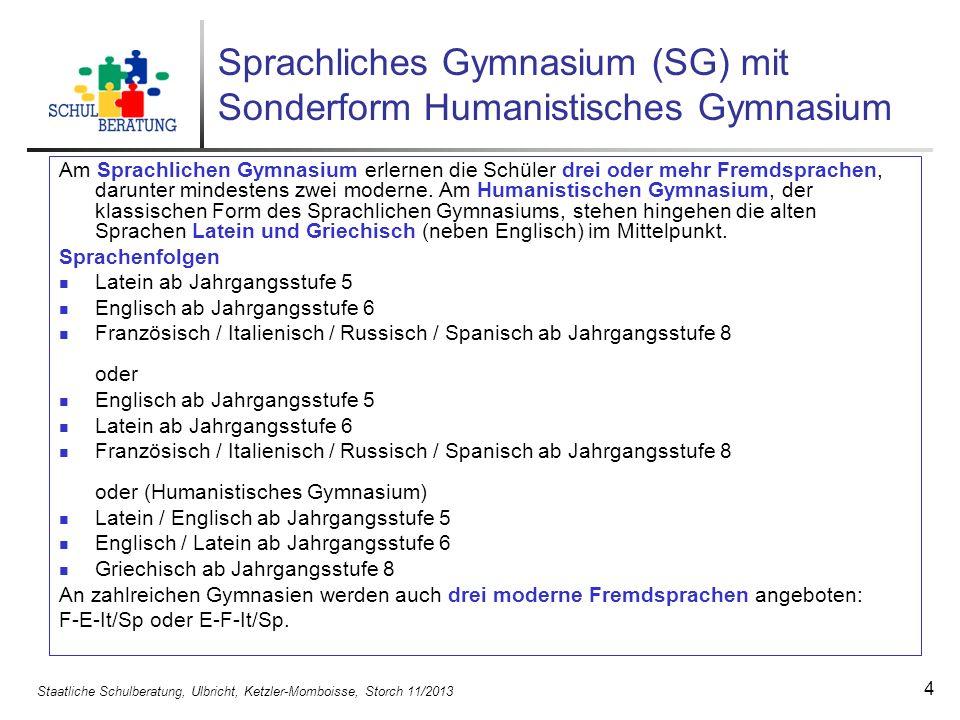 Staatliche Schulberatung, Ulbricht, Ketzler-Momboisse, Storch 11/2013 4 Sprachliches Gymnasium (SG) mit Sonderform Humanistisches Gymnasium Am Sprachl