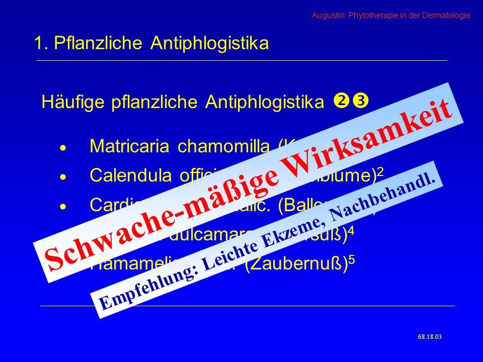 Augustin: Phytotherapie in der Dermatologie Häufige pflanzliche Antiphlogistika Matricaria chamomilla (Kamille) 1 Calendula officinalis (Ringelblume) 2 Cardiospermum halic.