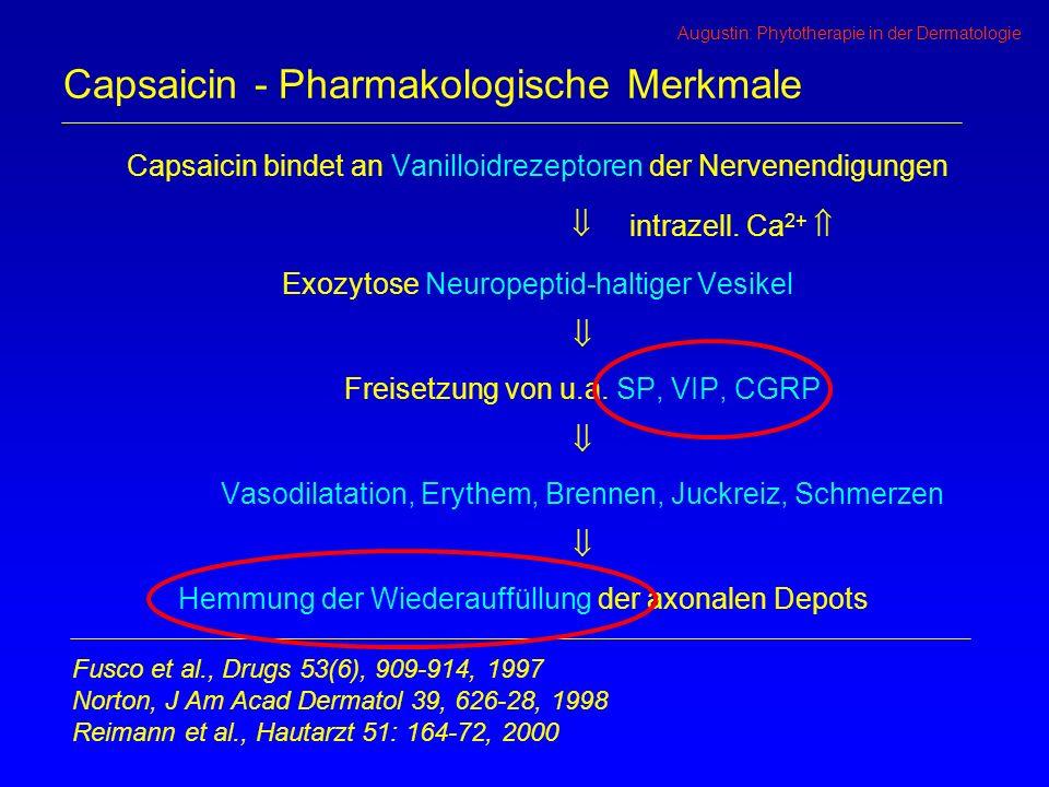 Augustin: Phytotherapie in der Dermatologie Capsaicin - Pharmakologische Merkmale Capsaicin bindet an Vanilloidrezeptoren der Nervenendigungen intrazell.