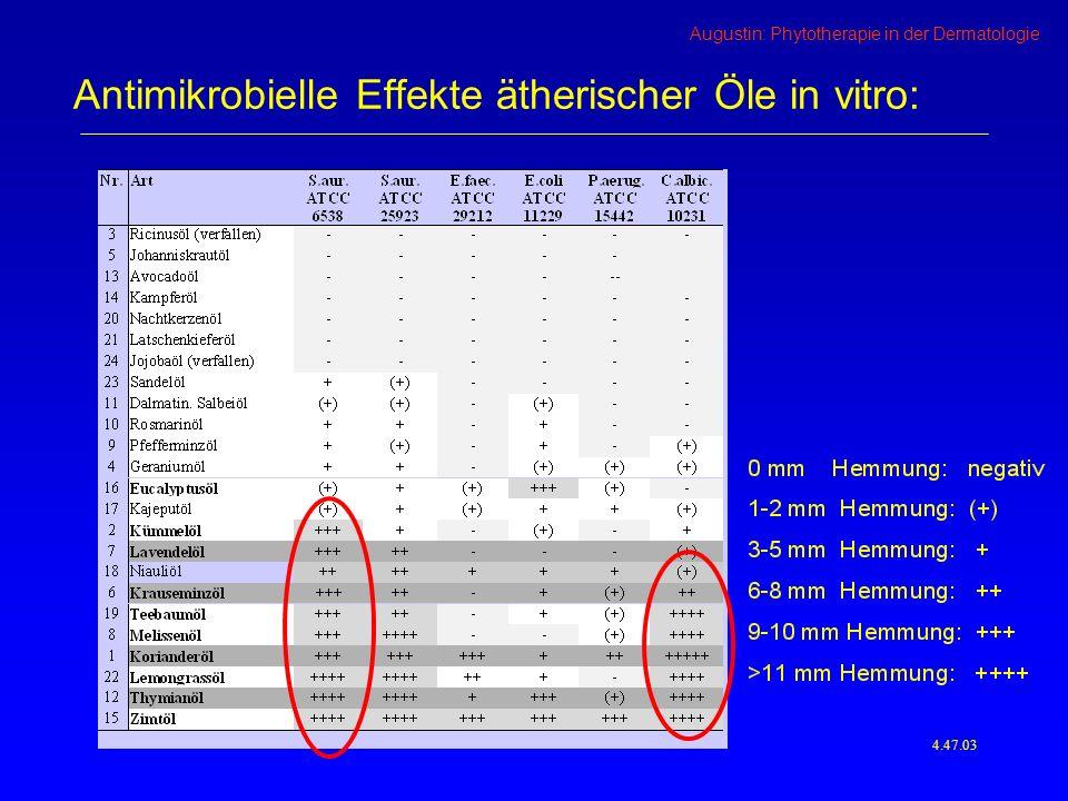 Augustin: Phytotherapie in der Dermatologie 4.47.03 Antimikrobielle Effekte ätherischer Öle in vitro: