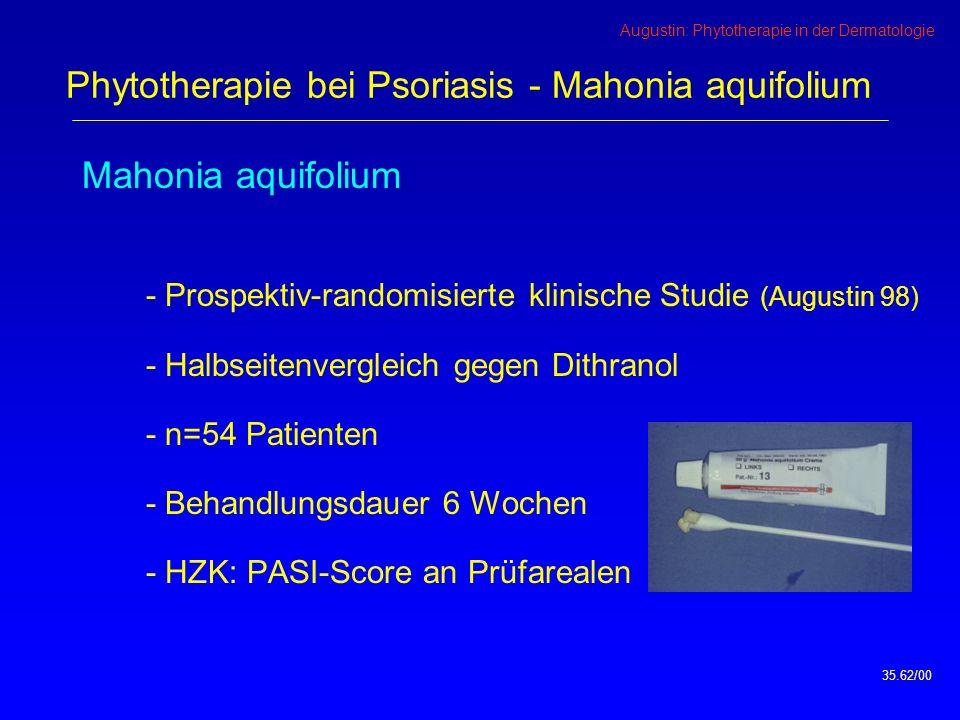Augustin: Phytotherapie in der Dermatologie Mahonia aquifolium - Prospektiv-randomisierte klinische Studie (Augustin 98) - Halbseitenvergleich gegen Dithranol - n=54 Patienten - Behandlungsdauer 6 Wochen - HZK: PASI-Score an Prüfarealen 35.62/00 Phytotherapie bei Psoriasis - Mahonia aquifolium