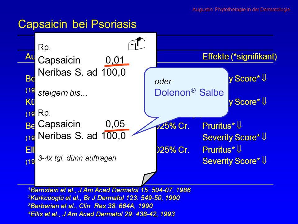 Augustin: Phytotherapie in der Dermatologie Capsaicin bei Psoriasis Autorn=PräparateEffekte (*signifikant) Bernstein et al.