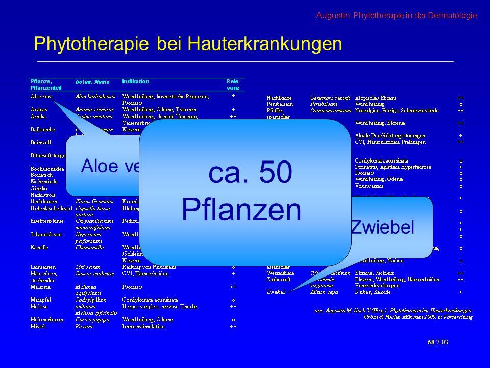 Augustin: Phytotherapie in der Dermatologie 68.7.03 Phytotherapie bei Hauterkrankungen Aloe vera Zwiebel ca.