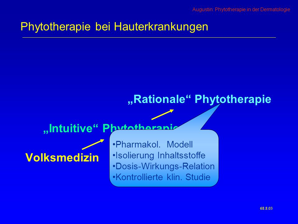 Augustin: Phytotherapie in der Dermatologie 68.9.03 Phytotherapie bei Hauterkrankungen Besonderheiten der Phytopharmaka Vielzahl von Inhaltsstoffen Wirkungen abhängig von Anbau + Verarbeitung Wirkungen abhängig von der Zubereitung