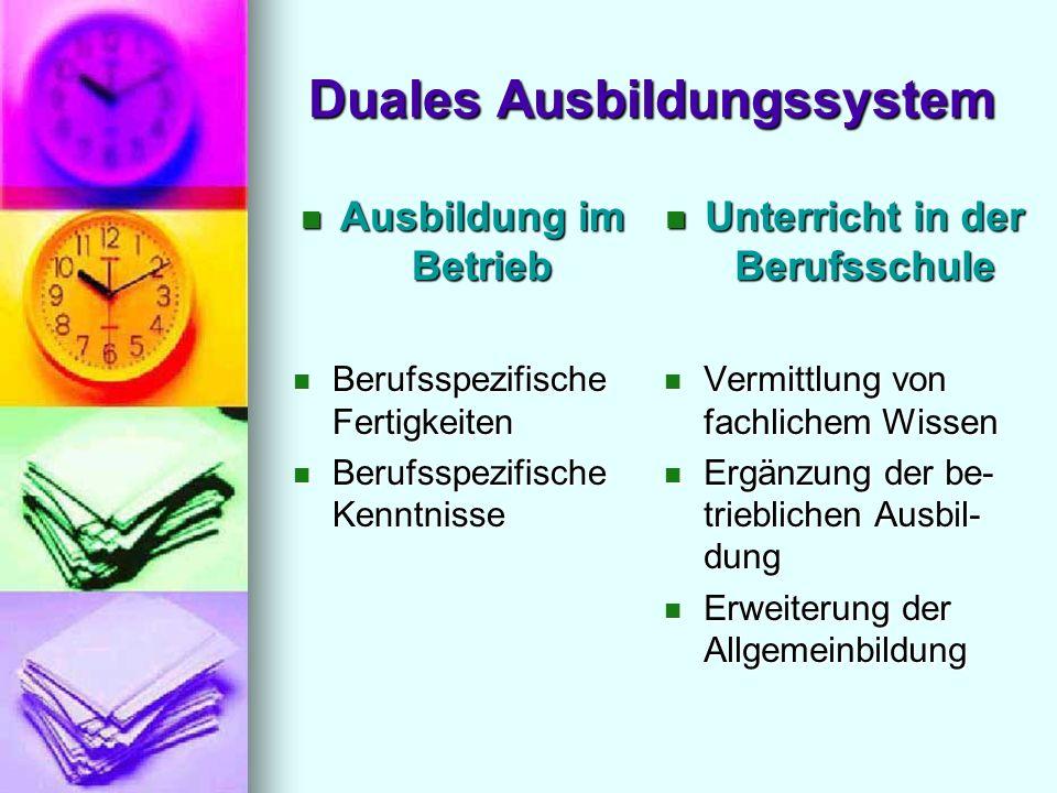 Duales Ausbildungssystem Ausbildung im Betrieb Ausbildung im Betrieb Berufsspezifische Fertigkeiten Berufsspezifische Fertigkeiten Berufsspezifische K