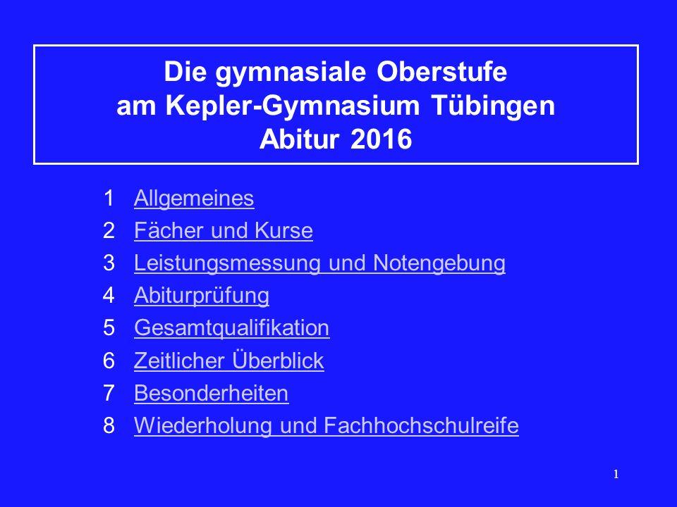 1 Die gymnasiale Oberstufe am Kepler-Gymnasium Tübingen Abitur 2016 1 AllgemeinesAllgemeines 2 Fächer und KurseFächer und Kurse 3 Leistungsmessung und