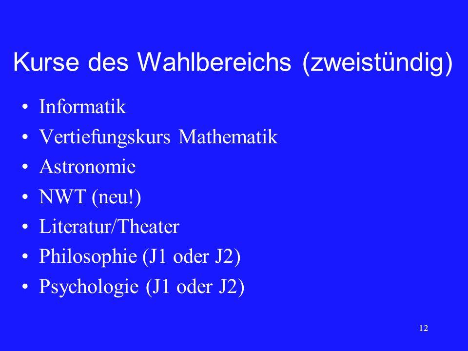 Kurse des Wahlbereichs (zweistündig) Informatik Vertiefungskurs Mathematik Astronomie NWT (neu!) Literatur/Theater Philosophie (J1 oder J2) Psychologi