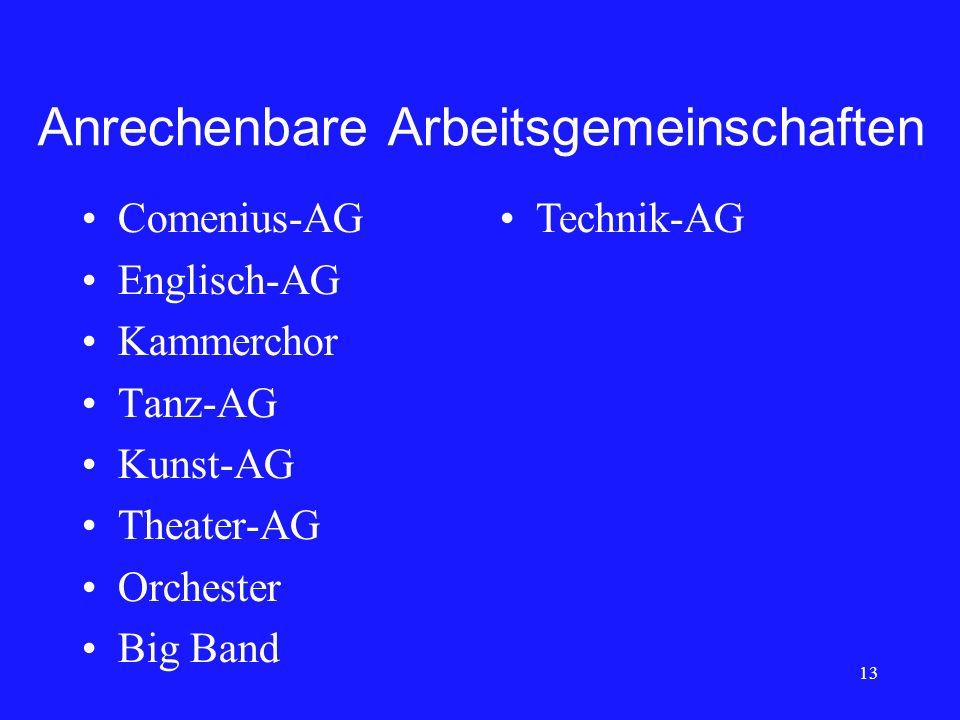 Anrechenbare Arbeitsgemeinschaften Comenius-AG Englisch-AG Kammerchor Tanz-AG Kunst-AG Theater-AG Orchester Big Band 13 Technik-AG