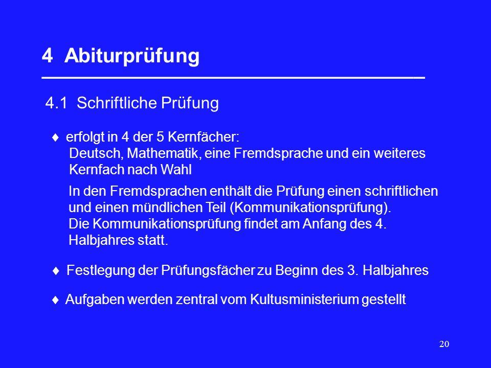 20 4 Abiturprüfung __________________________________ 4.1 Schriftliche Prüfung erfolgt in 4 der 5 Kernfächer: Deutsch, Mathematik, eine Fremdsprache u