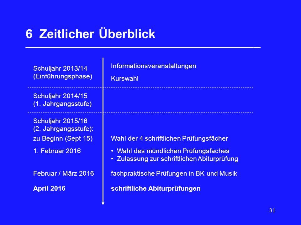 31 6 Zeitlicher Überblick __________________________________ Schuljahr 2013/14 (Einführungsphase) Informationsveranstaltungen Kurswahl Schuljahr 2014/