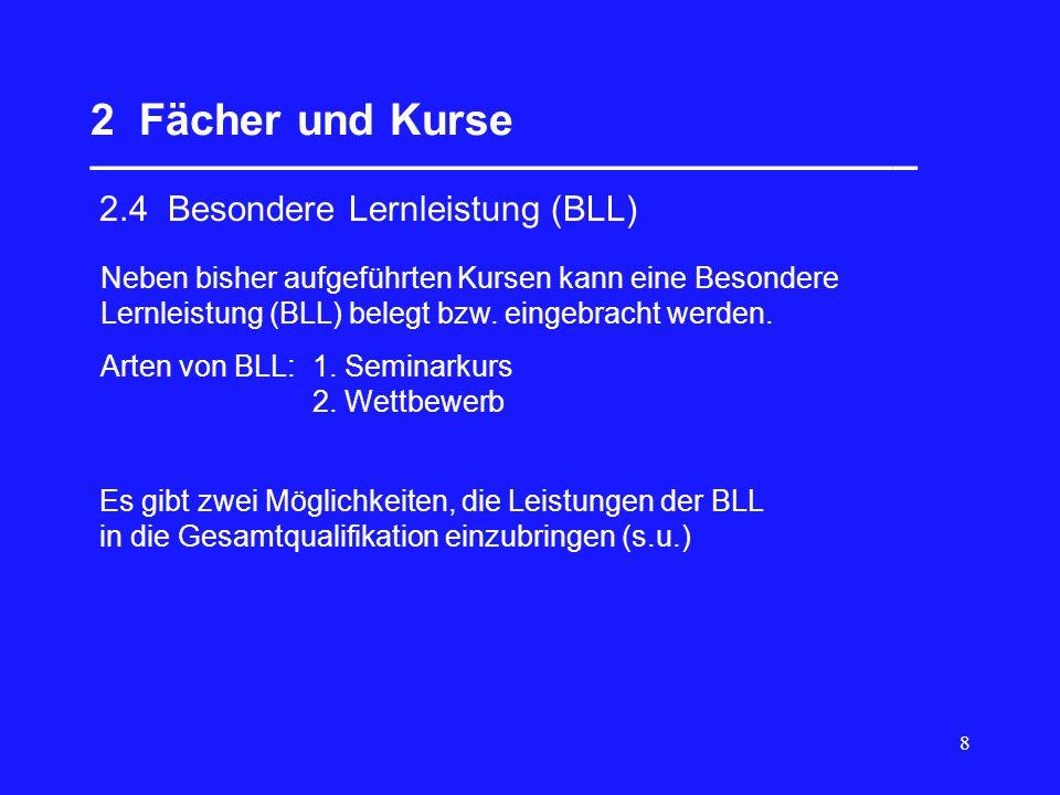 29 5 Gesamtqualifikation __________________________________ Block II Art der PrüfungWertung des Ergebnisses nur schriftlich oder nur mündlich 4-fach schriftlich (s) und mündlich (m) schriftlich (s) und fachpraktisch (f) (in BK, Musik, Sport) Die BLL kann das mündliche Prüfungsfach ersetzen und wird dann (auch) vierfach angerechnet.