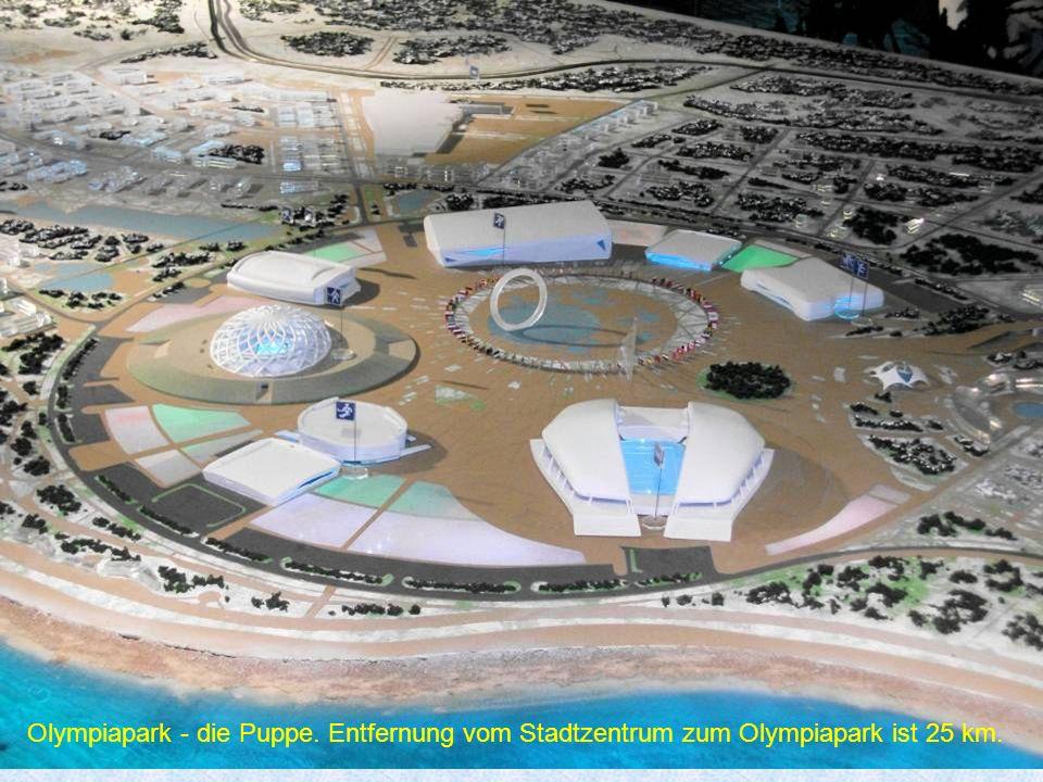 Hier ist dargestellt, wie es ein paar Tage vor den Olympischen Spielen aussehen wird.