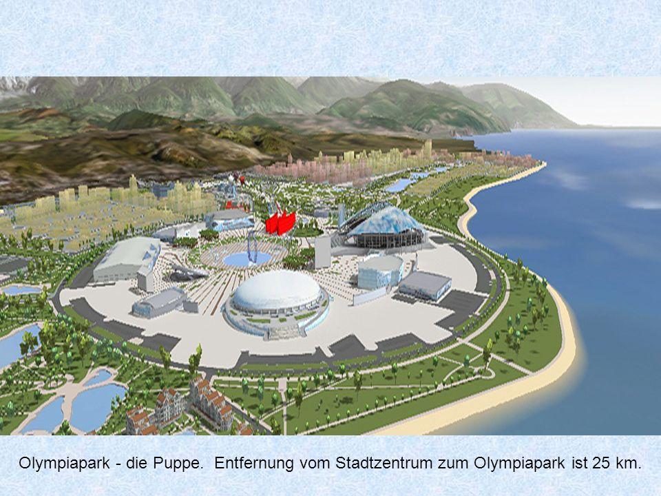 Olympiapark - die Puppe. Entfernung vom Stadtzentrum zum Olympiapark ist 25 km.