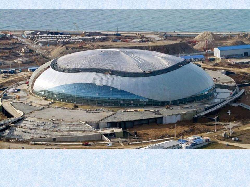 Blick auf die olympischen Anlagen zum 6. Januar 2013 abends um sieben. Vor dem Beginn der Bauarbeiten im Sotschi Olympiazentrum veröffentlichte die in
