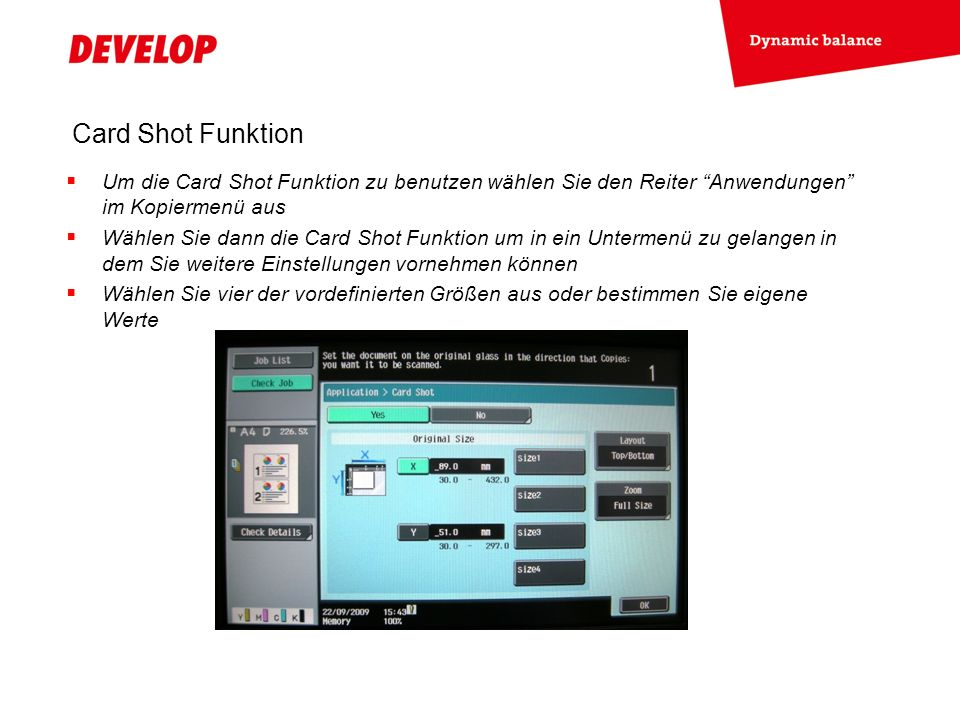 Card Shot Funktion Gehen Sie dann ins Layout-Menü um die Anordnung der Vorder- und Rückseite des Originals auf der Kopie festzulegen or