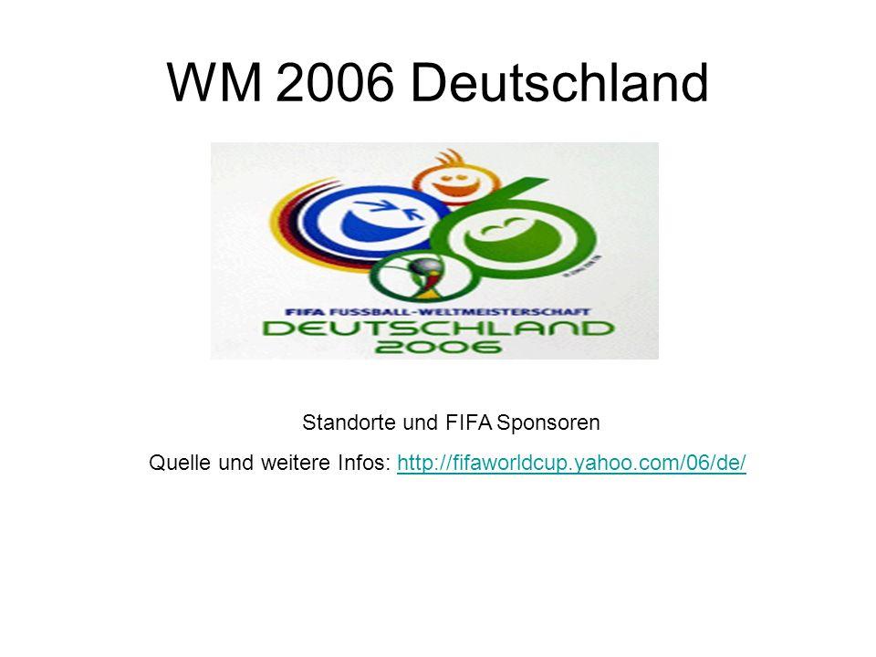 WM 2006 Deutschland Standorte und FIFA Sponsoren Quelle und weitere Infos: http://fifaworldcup.yahoo.com/06/de/http://fifaworldcup.yahoo.com/06/de/