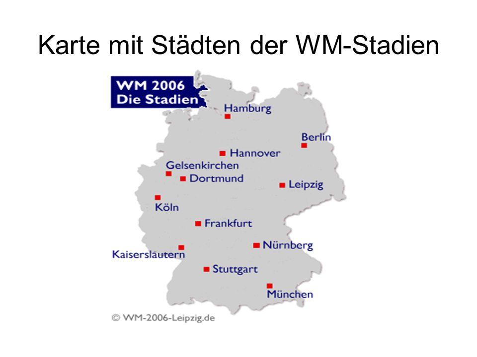 Karte mit Städten der WM-Stadien