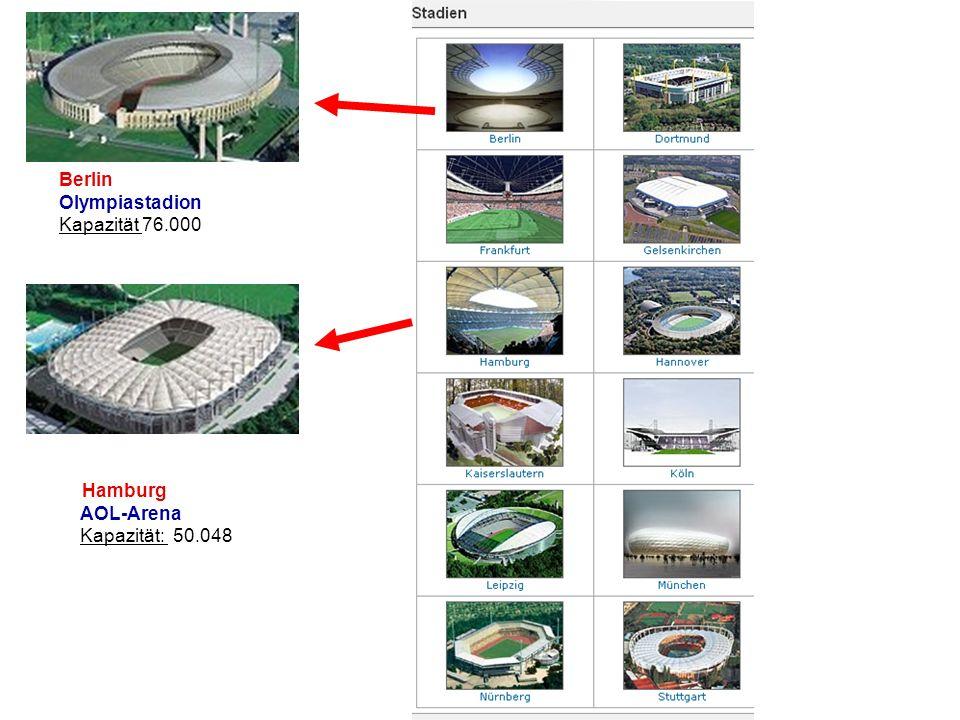 Hamburg AOL-Arena Kapazität: 50.048 Berlin Olympiastadion Kapazität 76.000