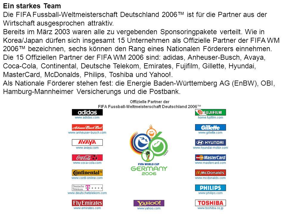 Ein starkes Team Die FIFA Fussball-Weltmeisterschaft Deutschland 2006 ist für die Partner aus der Wirtschaft ausgesprochen attraktiv. Bereits im März