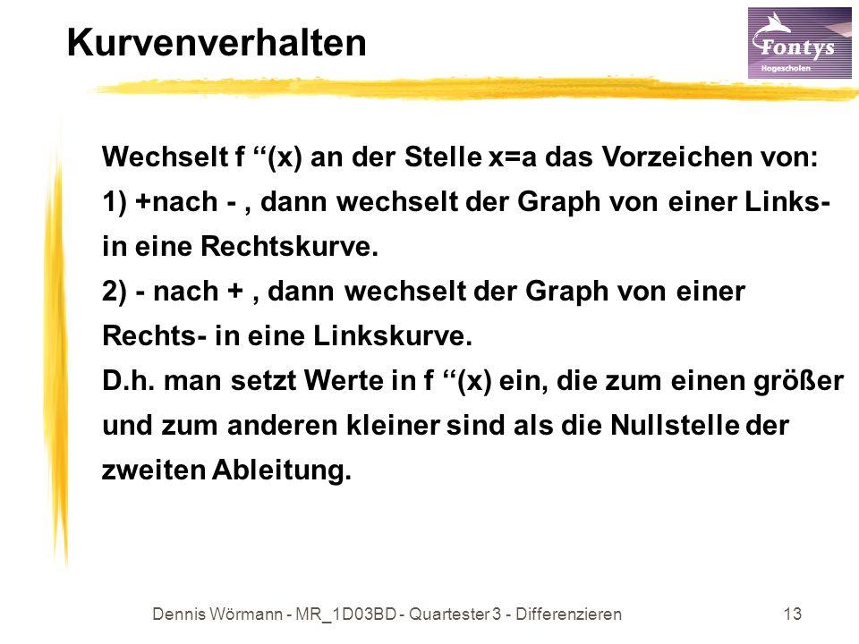 Dennis Wörmann - MR_1D03BD - Quartester 3 - Differenzieren13 Kurvenverhalten Wechselt f (x) an der Stelle x=a das Vorzeichen von: 1) +nach -, dann wechselt der Graph von einer Links- in eine Rechtskurve.