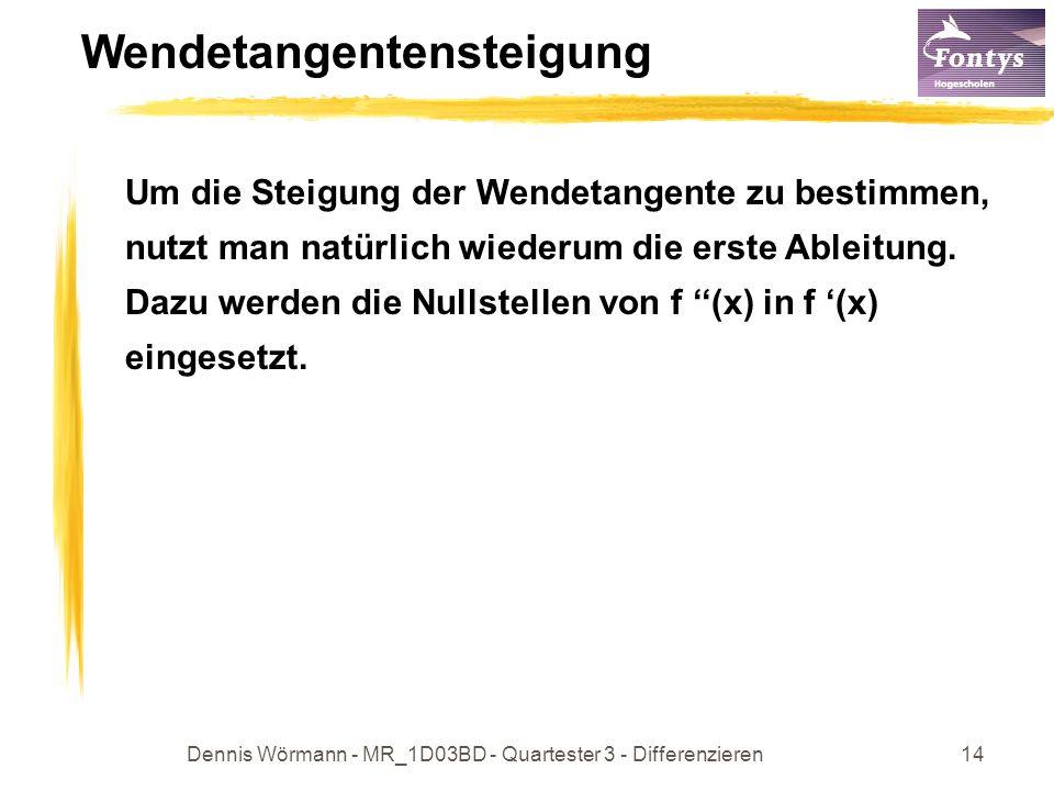 Dennis Wörmann - MR_1D03BD - Quartester 3 - Differenzieren14 Wendetangentensteigung Um die Steigung der Wendetangente zu bestimmen, nutzt man natürlich wiederum die erste Ableitung.