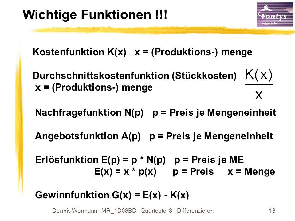Dennis Wörmann - MR_1D03BD - Quartester 3 - Differenzieren18 Wichtige Funktionen !!! Kostenfunktion K(x) x = (Produktions-) menge Durchschnittskostenf