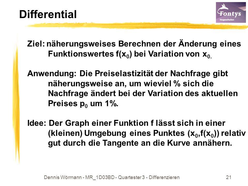 Dennis Wörmann - MR_1D03BD - Quartester 3 - Differenzieren21 Differential Ziel: näherungsweises Berechnen der Änderung eines Funktionswertes f(x 0 ) bei Variation von x 0.