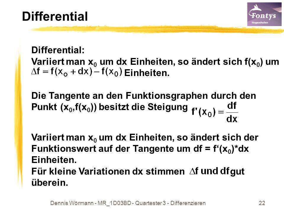 Dennis Wörmann - MR_1D03BD - Quartester 3 - Differenzieren22 Differential Differential: Variiert man x 0 um dx Einheiten, so ändert sich f(x 0 ) um Einheiten.