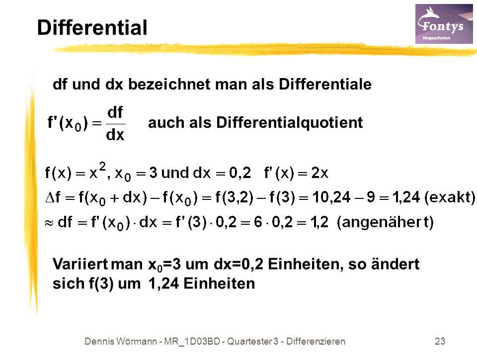 Dennis Wörmann - MR_1D03BD - Quartester 3 - Differenzieren23 Differential df und dx bezeichnet man als Differentiale auch als Differentialquotient Var