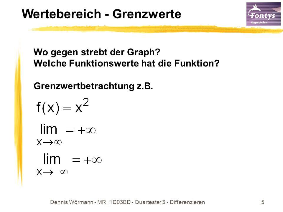 Dennis Wörmann - MR_1D03BD - Quartester 3 - Differenzieren5 Wertebereich - Grenzwerte Wo gegen strebt der Graph? Welche Funktionswerte hat die Funktio