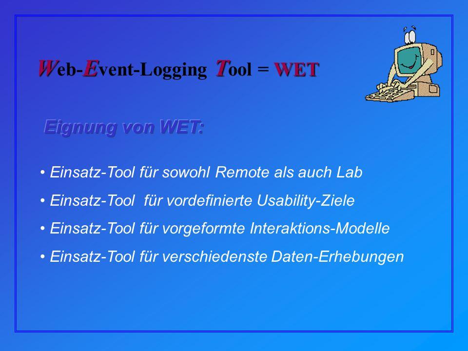 Einsatz-Tool für sowohl Remote als auch Lab Einsatz-Tool für vordefinierte Usability-Ziele Einsatz-Tool für vorgeformte Interaktions-Modelle Einsatz-Tool für verschiedenste Daten-Erhebungen WET WET W eb- E vent-Logging T ool = WET