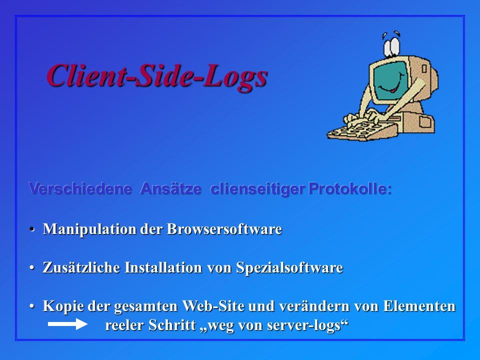 Manipulation der Browsersoftware Manipulation der Browsersoftware Zusätzliche Installation von Spezialsoftware Zusätzliche Installation von Spezialsoftware Kopie der gesamten Web-Site und verändern von Elementen Kopie der gesamten Web-Site und verändern von Elementen reeler Schritt weg von server-logs reeler Schritt weg von server-logs Client-Side-Logs