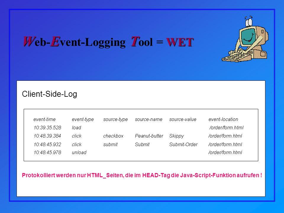 Client-Side-Log Protokolliert werden nur HTML_Seiten, die im HEAD-Tag die Java-Script-Funktion aufrufen .
