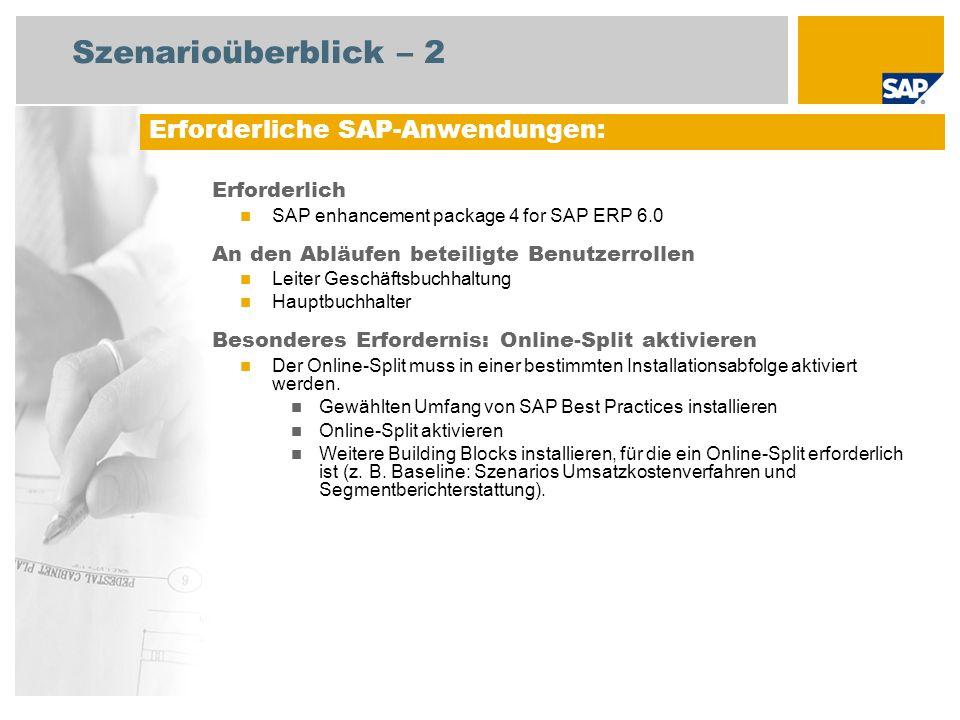 Szenarioüberblick – 2 Erforderlich SAP enhancement package 4 for SAP ERP 6.0 An den Abläufen beteiligte Benutzerrollen Leiter Geschäftsbuchhaltung Hau