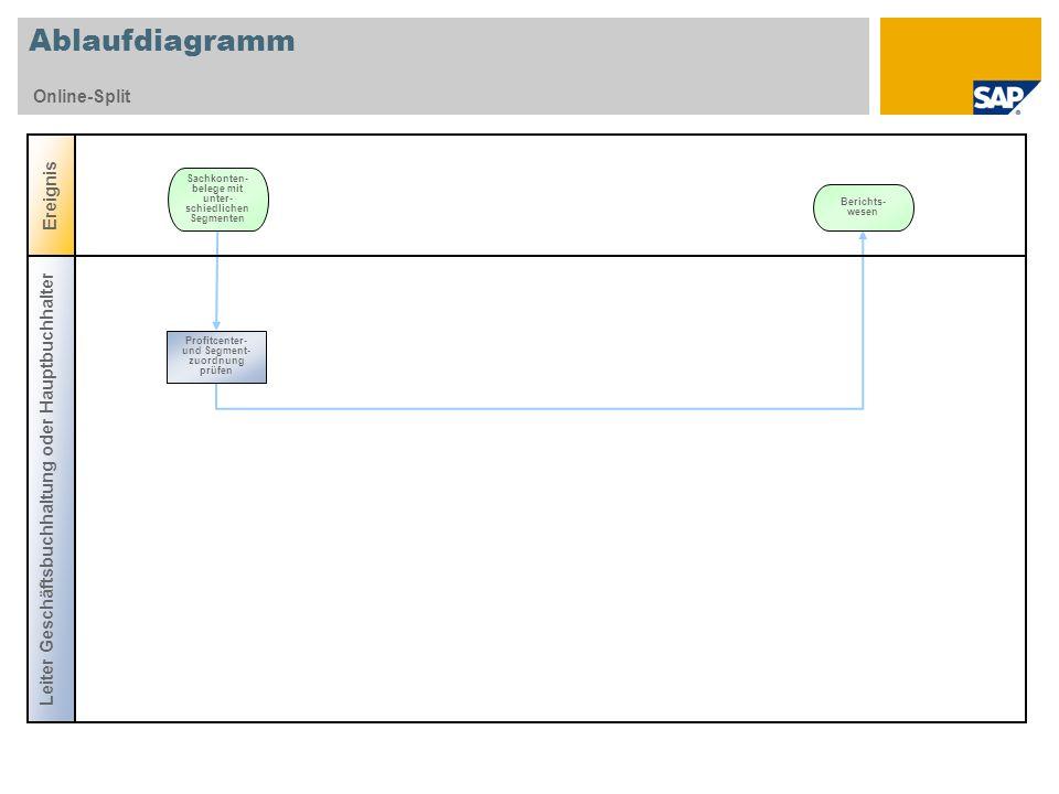 Ablaufdiagramm Online-Split Ereignis Sachkonten- belege mit unter- schiedlichen Segmenten Leiter Geschäftsbuchhaltung oder Hauptbuchhalter Profitcente