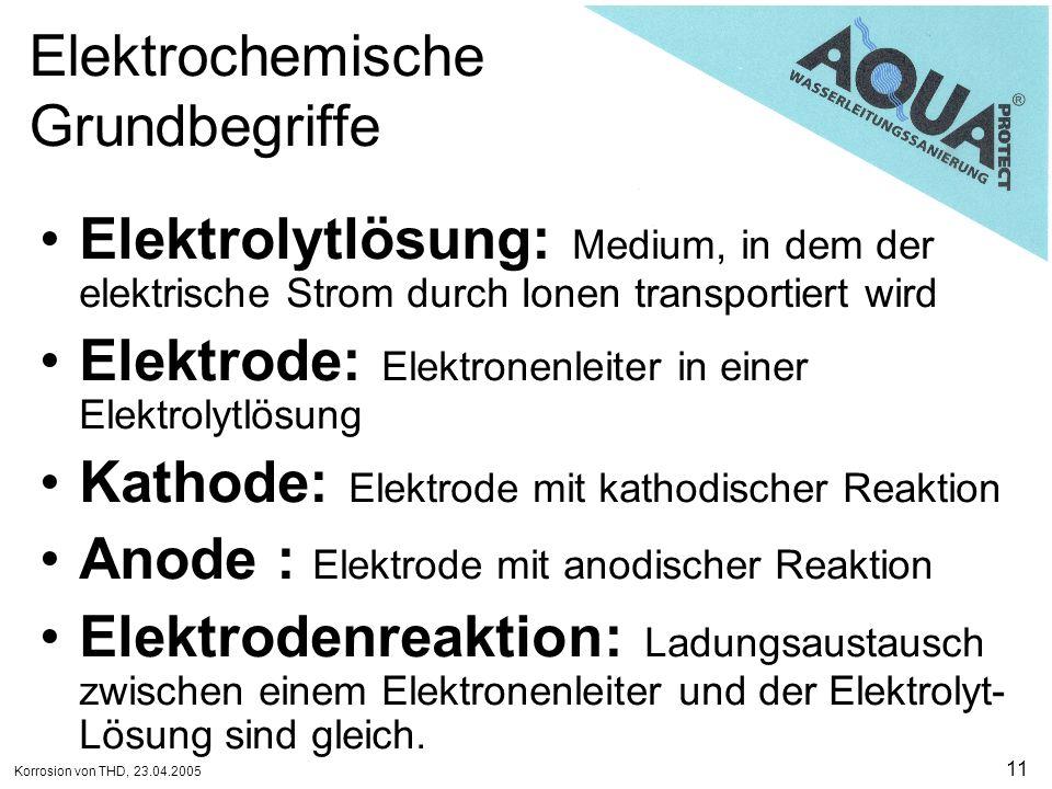 Korrosion von THD, 23.04.2005 11 Elektrochemische Grundbegriffe Elektrolytlösung: Medium, in dem der elektrische Strom durch Ionen transportiert wird