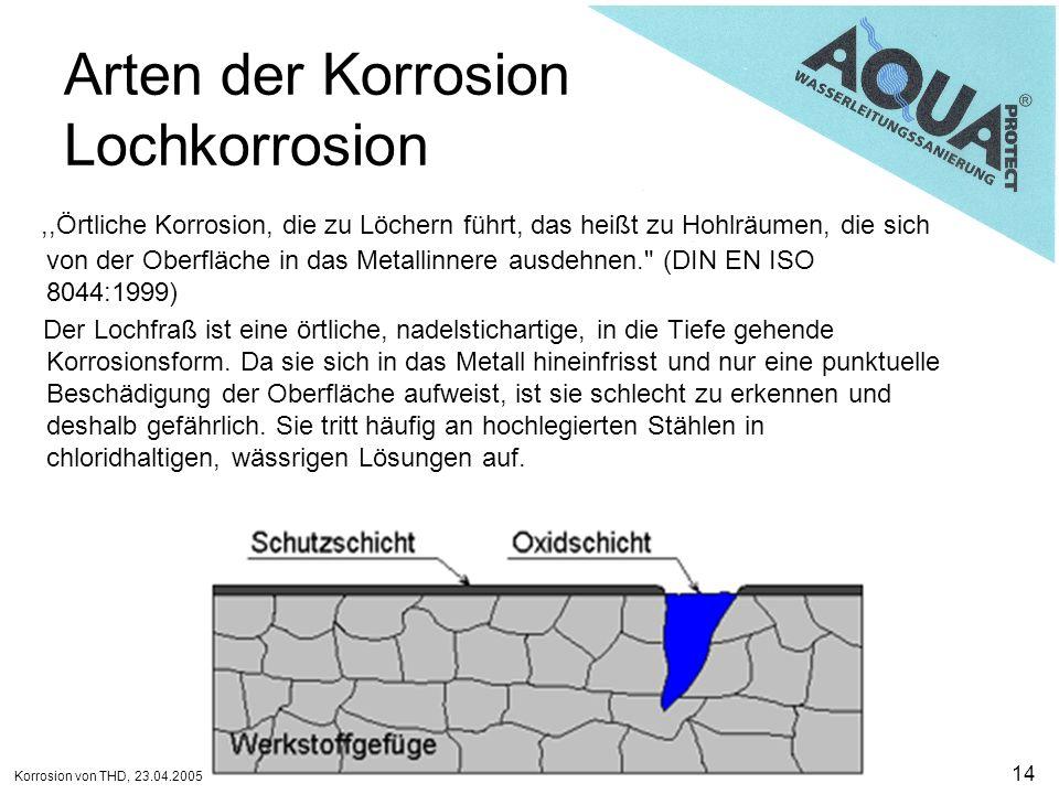 Korrosion von THD, 23.04.2005 14 Arten der Korrosion Lochkorrosion,,Örtliche Korrosion, die zu Löchern führt, das heißt zu Hohlräumen, die sich von de