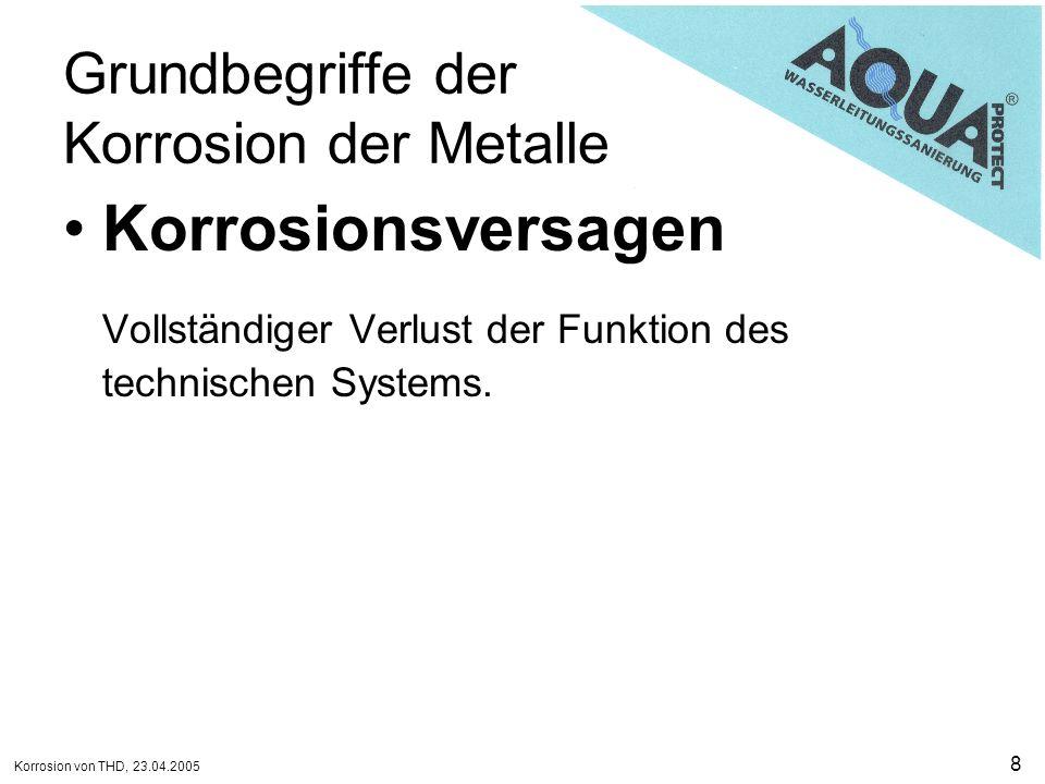 Korrosion von THD, 23.04.2005 9 Grundbegriffe der Korrosion der Metalle Korrosionsprodukt Stoff, der als Ergebnis von Korrosion gebildet wird.