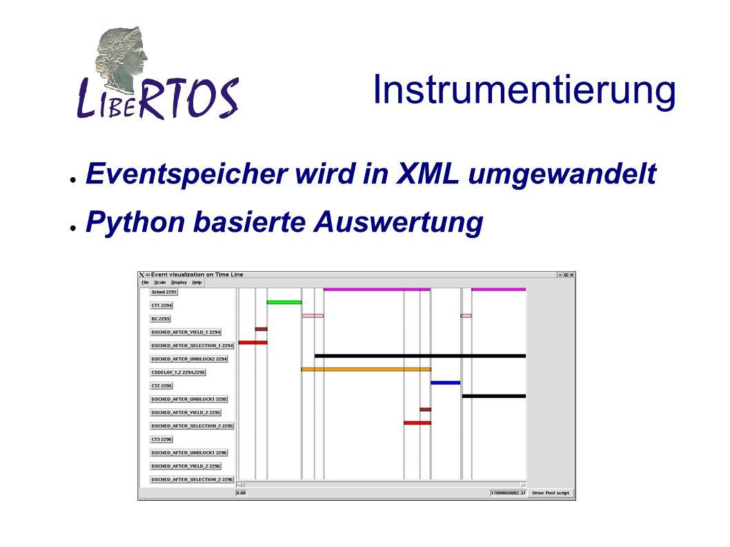 Instrumentierung Eventspeicher wird in XML umgewandelt Python basierte Auswertung