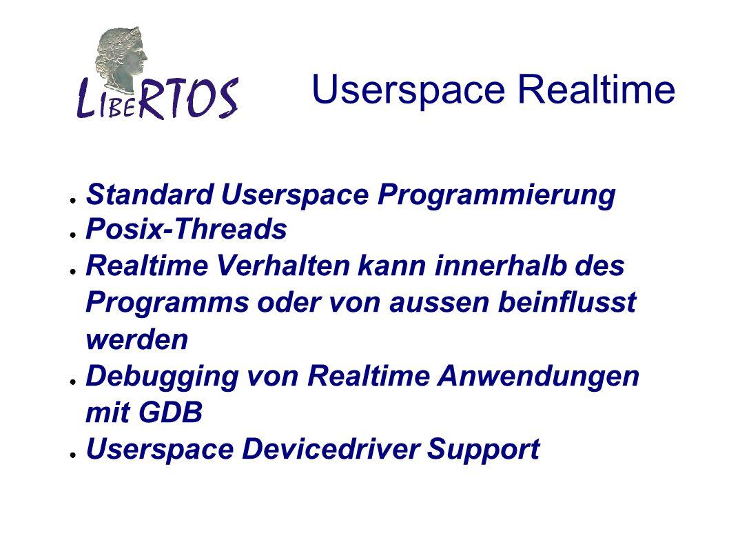Userspace Realtime Standard Userspace Programmierung Posix-Threads Realtime Verhalten kann innerhalb des Programms oder von aussen beinflusst werden Debugging von Realtime Anwendungen mit GDB Userspace Devicedriver Support