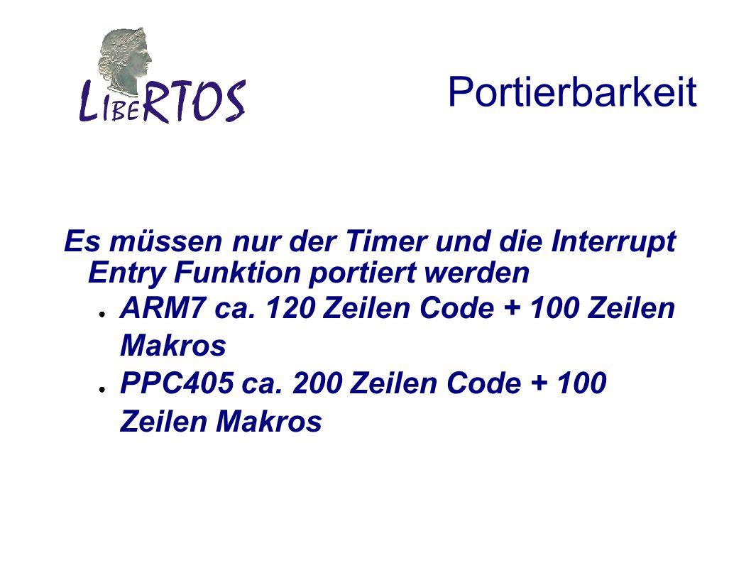 Portierbarkeit Es müssen nur der Timer und die Interrupt Entry Funktion portiert werden ARM7 ca.