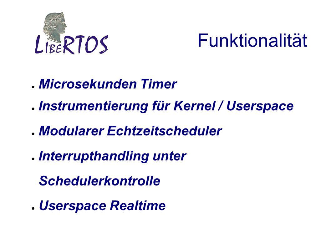 Funktionalität Microsekunden Timer Instrumentierung für Kernel / Userspace Modularer Echtzeitscheduler Interrupthandling unter Schedulerkontrolle Userspace Realtime