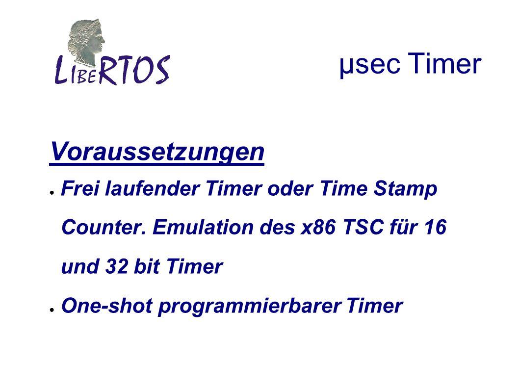 µsec Timer Voraussetzungen Frei laufender Timer oder Time Stamp Counter.