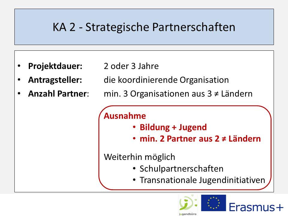 KA 2 - Strategische Partnerschaften Projektdauer: 2 oder 3 Jahre Antragsteller: die koordinierende Organisation Anzahl Partner: min.