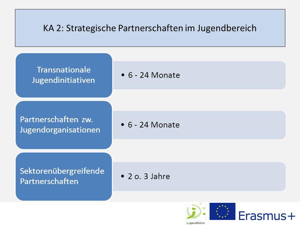 KA 2: Strategische Partnerschaften im Jugendbereich 6 - 24 Monate Transnationale Jugendinitiativen 6 - 24 Monate Partnerschaften zw.