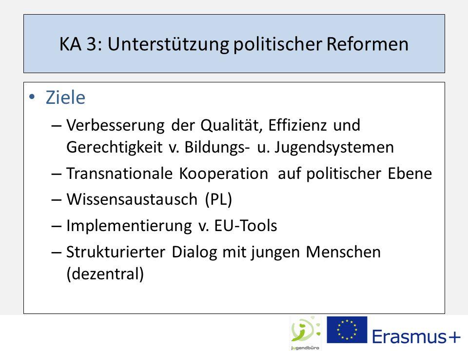 KA 3: Unterstützung politischer Reformen Ziele – Verbesserung der Qualität, Effizienz und Gerechtigkeit v.